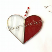 Stained Glass Personalised Heart - Made To Order