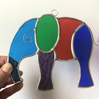 Stained Glass Large Elephant Suncatcher - Handmade Hanging Decoration - Multi