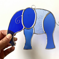 Stained Glass Large Elephant Suncatcher - Handmade Hanging Decoration - Blue
