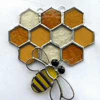 Bee on Honeycomb Stained Glass Suncatcher - Handmade Hanging Decoration