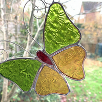 Stained Glass Butterfly Suncatcher - Handmade Decoration - Amber  and Lime