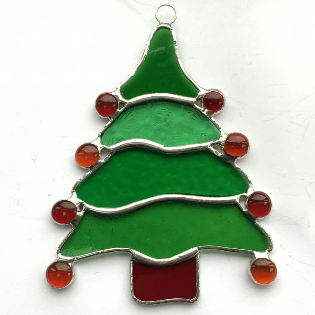 Stained Glass Christmas Tree Suncatcher - Handmade Christmas Decoration