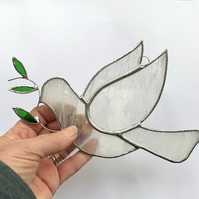 Stained Glass Dove Suncatcher - Handmade Hanging Decoration