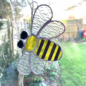 Stained Glass Bee Suncatcher Large  - Handmade Hanging Decoration