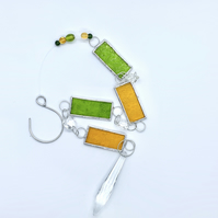 Stained Glass Window Hanger - Handmade Window Decoration - Lime and Amber