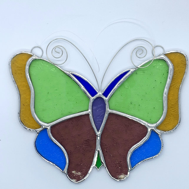 Stained Glass Butterfly Suncatcher - Handmade Hanging Decoration - Pastel