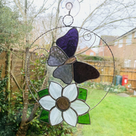 Stained Glass Butterfly and Flower Suncatcher - TO ORDER
