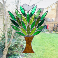 Stained Glass Birdie in a Tree Suncatcher . Handmade Window Decoration