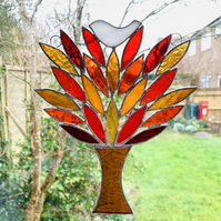 Stained Glass Birdie in a Tree Suncatcher - Handmade Window Decoration - Autumn