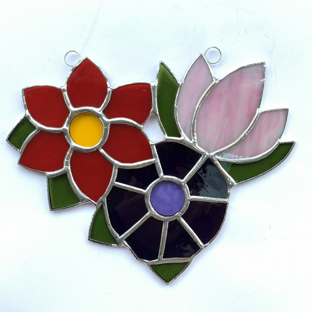 Stained Glass Flower Posy Suncatcher - Handmade Window Decoration