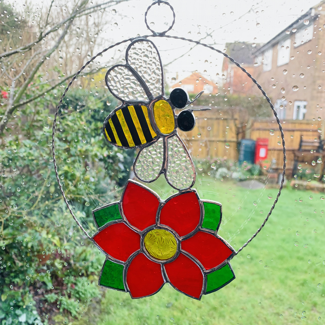Stained Glass Bee and Flower Suncatcher - Handmade Window Decoration