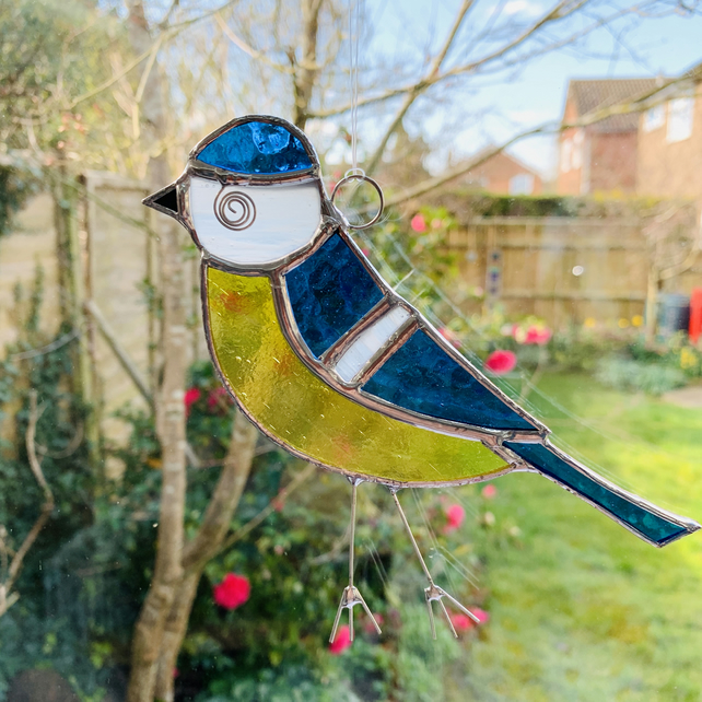 Stained Glass Blue Tit Suncatcher - Handmade Hanging Window Decoration