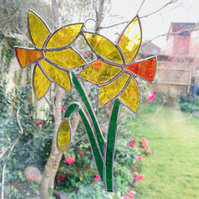 Stained Glass Bunch of Daffodil Suncatcher - Handmade Hanging Window Decoration