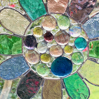 Stained Glass Bead Daisy Suncatcher - Handmade Window Hanging Decoration Pastel