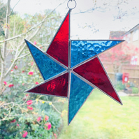 Stained Glass Windmill Suncatcher - Handmade Hanging Decoration - Red and Blue