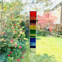 Stained Glass Rainbow Strip Garden Hanger - Handmade Hanging Decoration