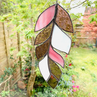 Stained Glass Feather Suncatcher - Handmade Window Decoration - Pink