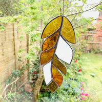 Stained Glass Feather Suncatcher - Handmade Window Decoration - Amber