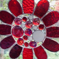 Stained Glass Bead Daisy Suncatcher - Handmade Window Decoration - Red