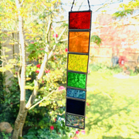 Stained Glass Rainbow Strip Garden Hanger Small TO ORDER - Handmade  Decoration