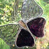 Stained Glass Butterfly Suncatcher - Handmade Decoration - Purple and Mauve