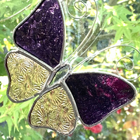 Stained Glass Butterfly Suncatcher - Handmade Decoration - Purple and Pink