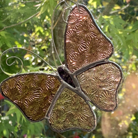 Stained Glass Butterfly Suncatcher - Handmade Decoration - Pink