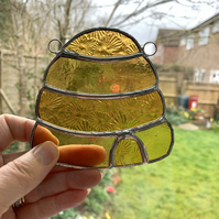 Stained Glass Beehive Suncatcher - TO ORDER - Handmade Window Decoration