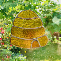 Stained Glass Beehive Suncatcher - Handmade Window Decoration