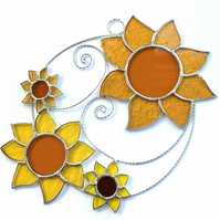 Stained Glass Sunflower Suncatcher - Handmade Hanging Decoration