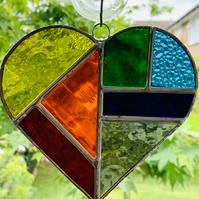 Stained Glass Heart Suncatcher - Multi Rainbow