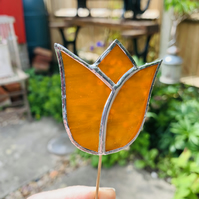 Stained  Glass Tulip Stake Small - Handmade Plant Pot Dec -  Orange