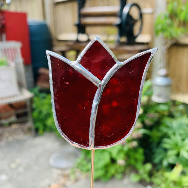 Stained  Glass Tulip Stake Small - Handmade Plant Pot Dec -  Red