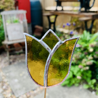 Stained  Glass Tulip Stake Small - Handmade Plant Pot Dec -  Amber