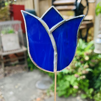 Stained  Glass Tulip Stake Small - Handmade Plant Pot Dec - Blue