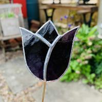 Stained  Glass Tulip Stake Small - Handmade Plant Pot Dec - Purple