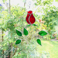 Stained Glass Rose Suncatcher Handmade Hanging Decoration - Red