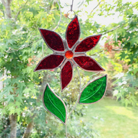 Stained Glass Flower Suncatcher - Handmade Hanging Decoration Red