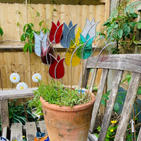 Stained  Glass Lily Tulip Stake Large x 3 - Handmade Plant Pot Dec