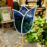 Stained  Glass Tulip Stake Large - Handmade Plant Pot Decoration -  Blue