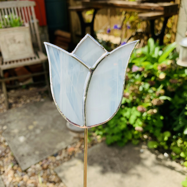 Stained  Glass Tulip Stake Large - Handmade Plant Pot Decoration -  White
