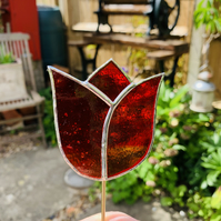 Stained  Glass Tulip Stake Large - Handmade Plant Pot Decoration -  Red Streaky