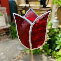 Stained  Glass Tulip Stake Large - Handmade Plant Pot Decoration -  Red