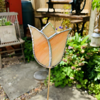 Stained  Glass Tulip Stake Large - Handmade Plant Pot Dec -  Orange Streaky