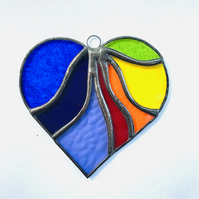 Stained Glass Wavy Heart Suncatcher - Multi Rainbow