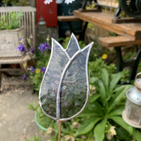 Stained  Glass Lily Tulip Stake Large - Plant Pot Decoration -  Mauve