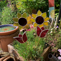 Stained  Glass Sunflower Stake - To Order - Handmade Plant Pot Decoration