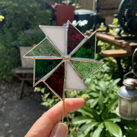 Stained  Glass Windmill Stake Small - Plant Pot Decoration - Green White Red