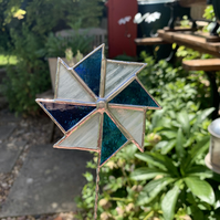 Stained  Glass Windmill Stake Small - Plant Pot Decoration - Blue White