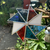 Stained  Glass Windmill Stake Large - Plant Pot Decoration - Red Blue White